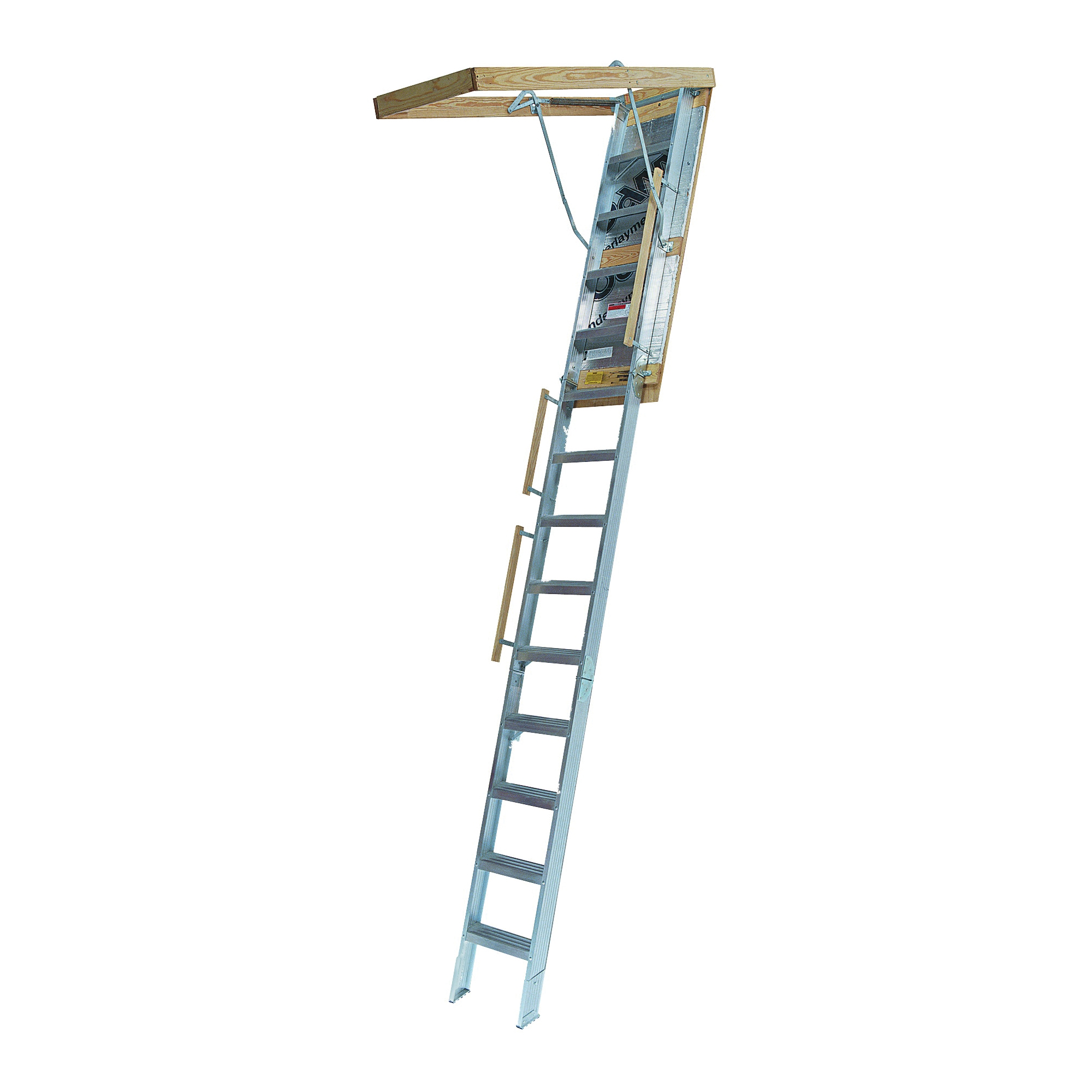 Picture of Louisville Everest Series AL258P Attic Ladder, 10 to 12 ft H Ceiling, 25-1/2 x 63 in Ceiling Opening, 13-Step
