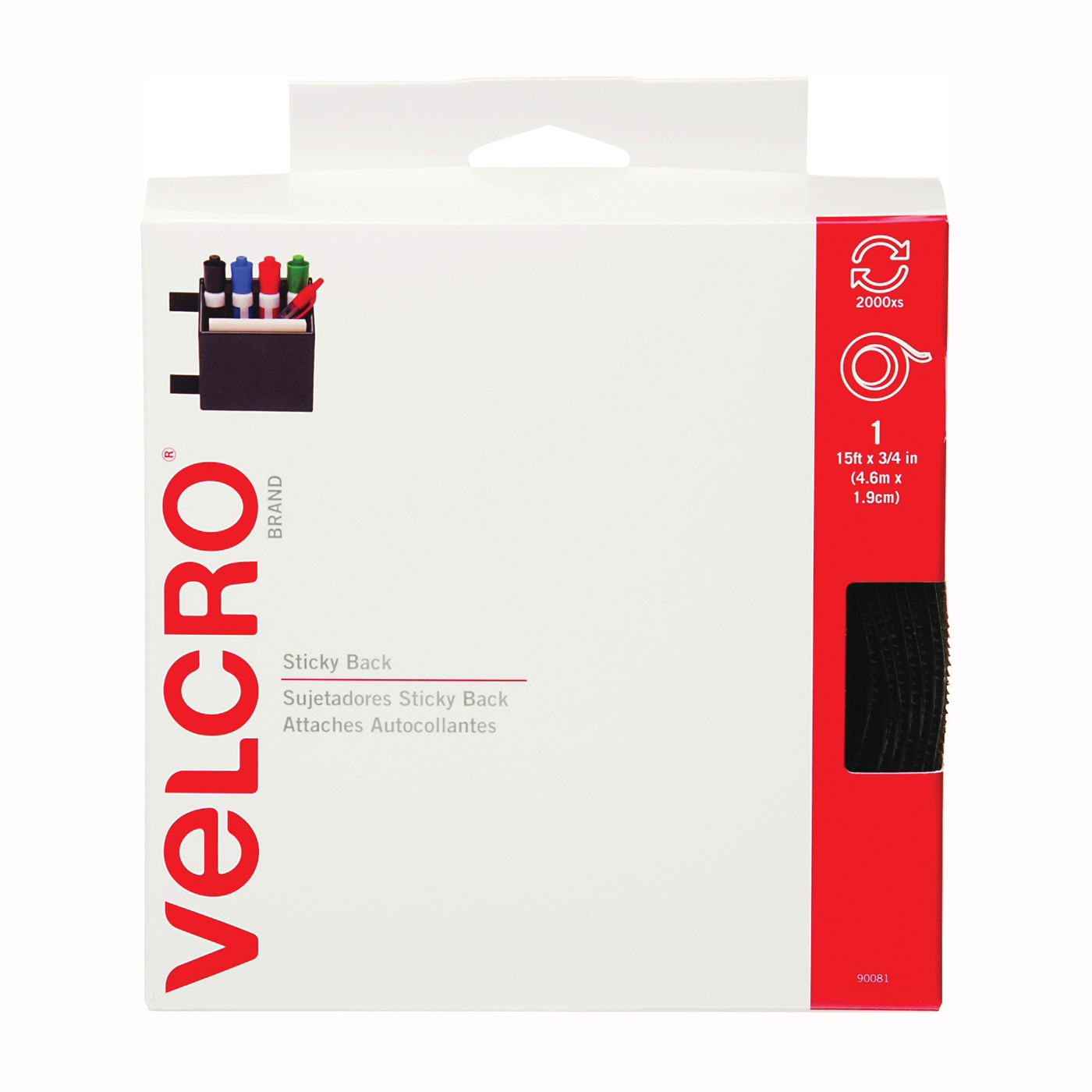 Picture of VELCRO Brand 90081 Fastener, 3/4 in W, 15 ft L, Black