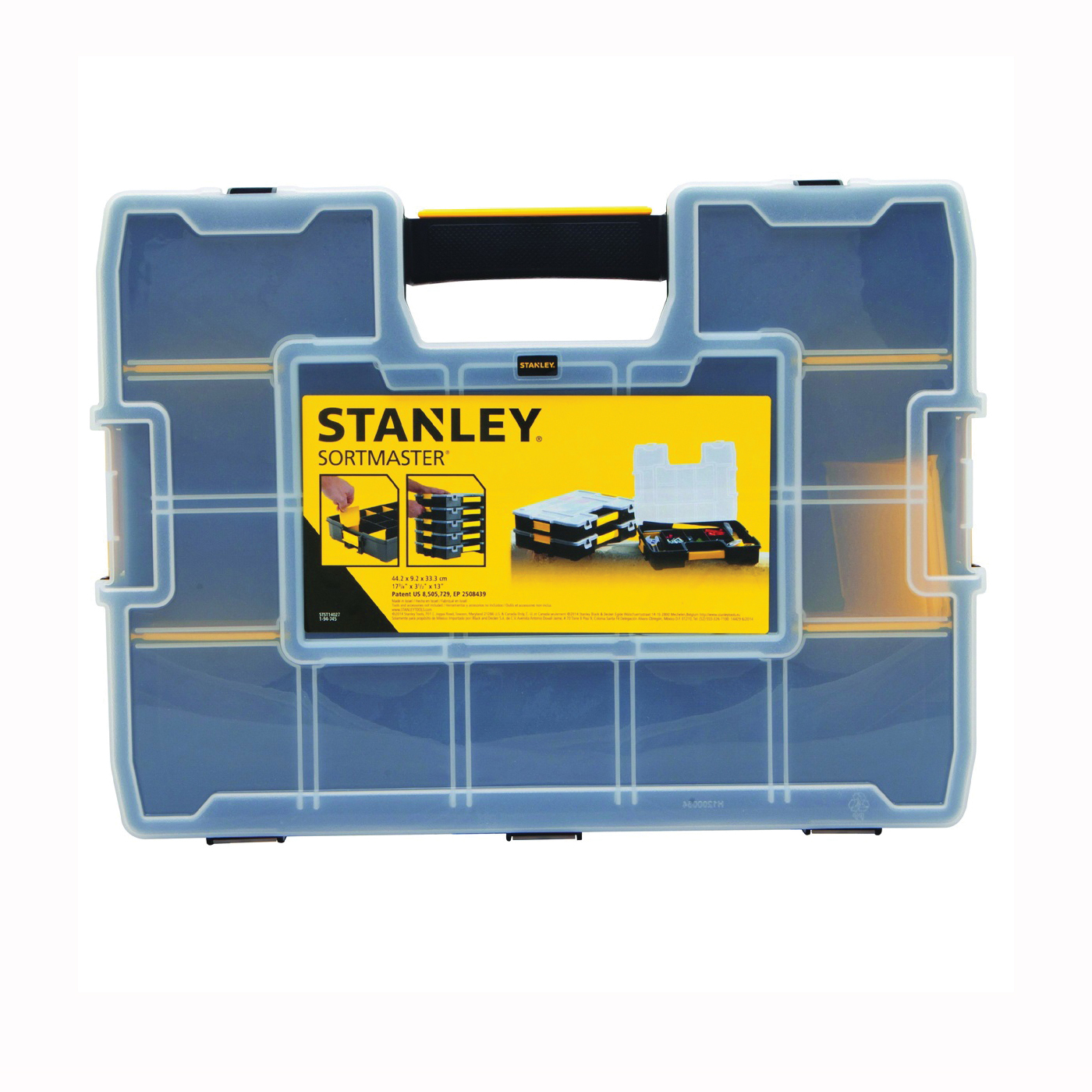 Picture of STANLEY STST14027 Tool Organizer, 13 in W, 3.4 in H, 15 -Compartment, 14 -Drawer, Plastic, Black/Yellow