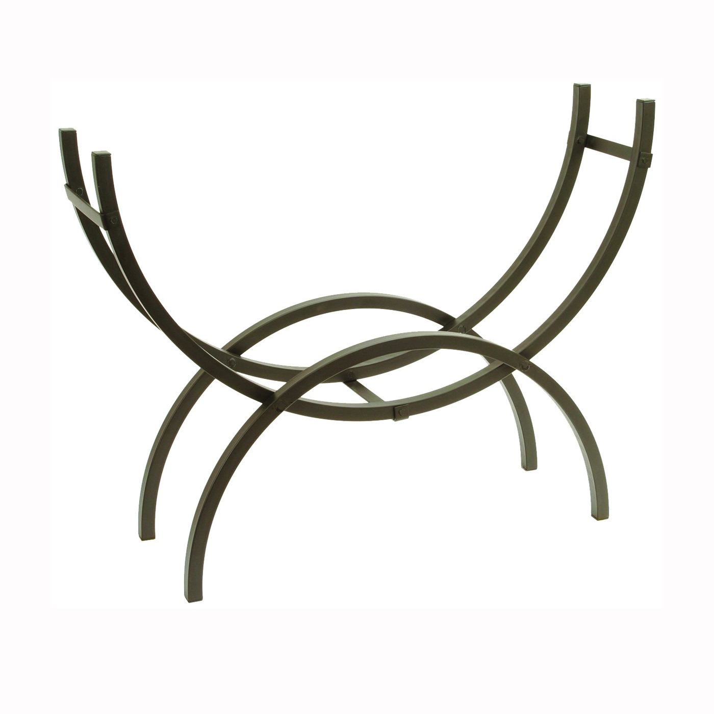 Picture of SHELTER SCRM Medium Crescent Log Holder, 14 in W, 48 in D, 40 in H, Steel Base, Powder-Coated, Black