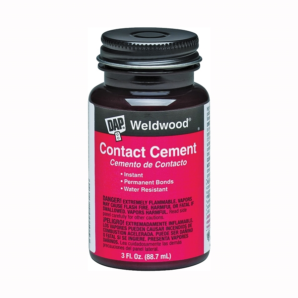 Picture of DAP Weldwood 00107 Contact Cement, Liquid, Strong Solvent, Tan, 3 oz Package, Bottle