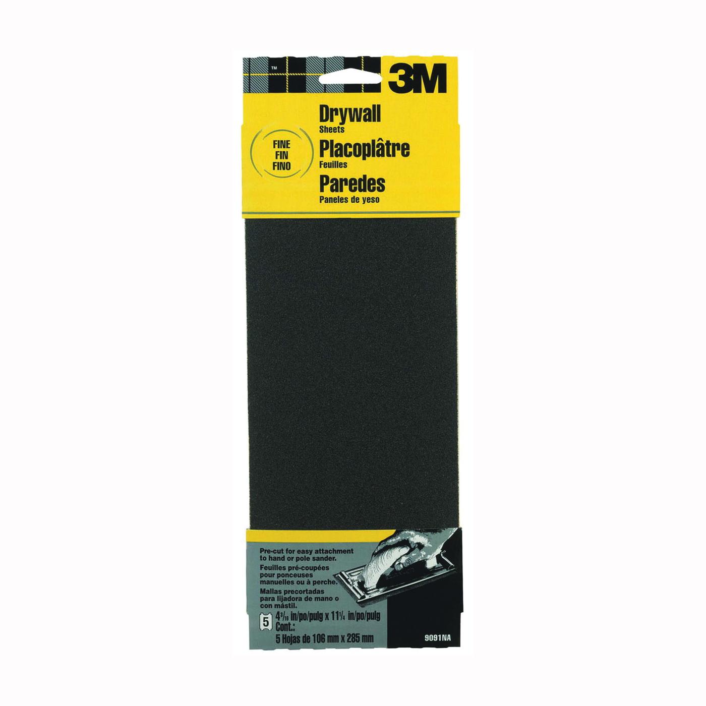 Picture of 3M 9091 Sandpaper, 11 in L, 4-3/16 in W, 150 Grit, Fine, Silicone Carbide Abrasive