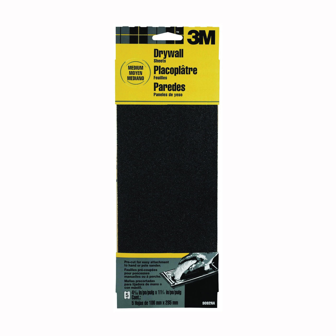Picture of 3M 9092 Sandpaper, 11 in L, 4-3/16 in W, 100 Grit, Medium, Silicone Carbide Abrasive