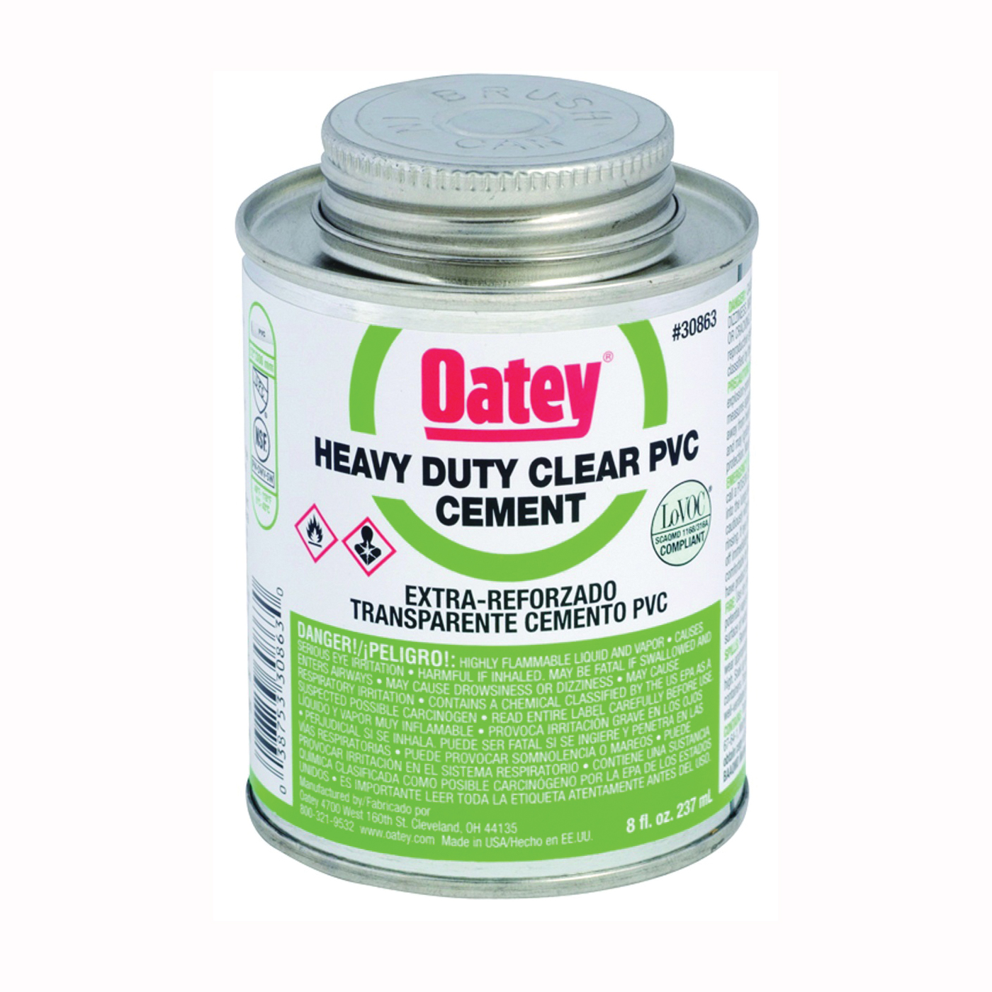 Picture of Oatey 30876 Solvent Cement, 16 oz, Can, Liquid, Clear