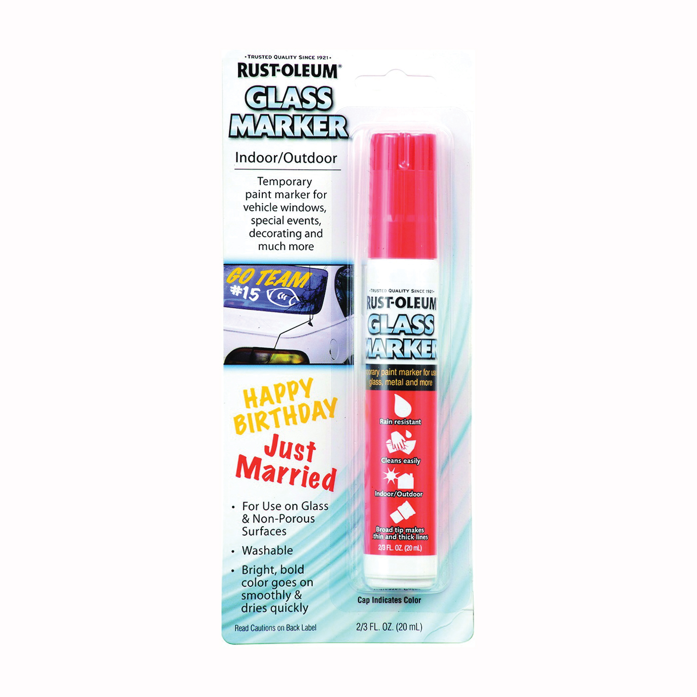 Picture of RUST-OLEUM AUTOMOTIVE 267964 Glass Marker, Satin, Red, 2 to 3 fl-oz, Paint Pen