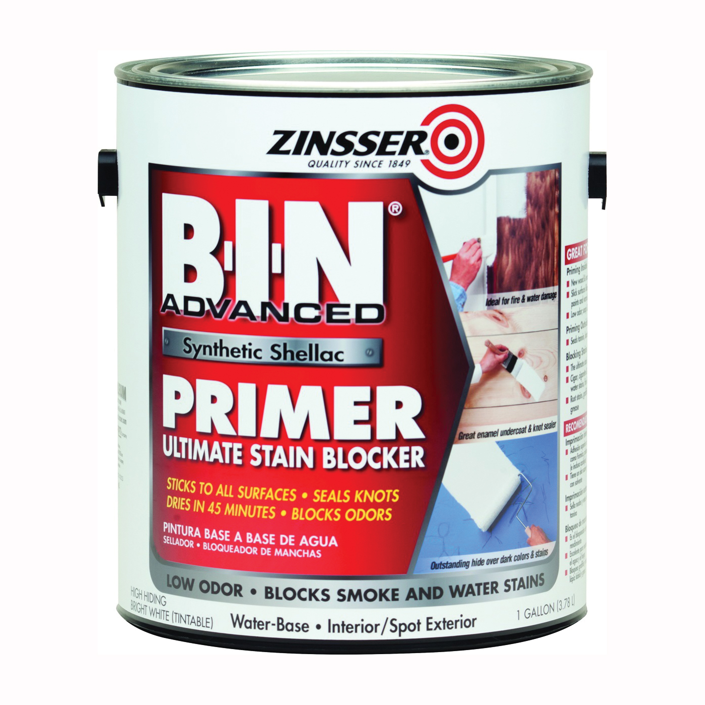 Picture of ZINSSER 270976 Primer, Flat, White, 1 gal, Can