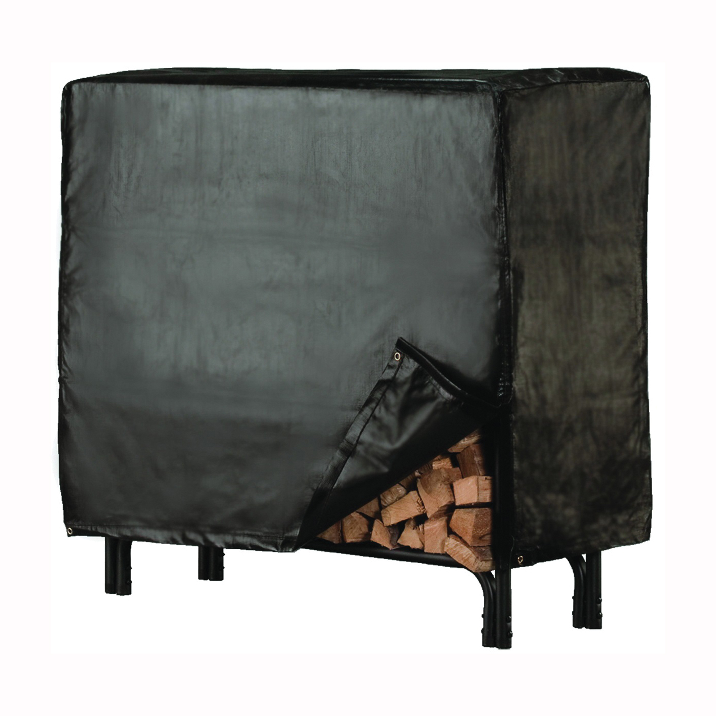 Picture of SHELTER SLRCD-XL Log Rack Cover, 100 in L, 21 in W, Vinyl, Black