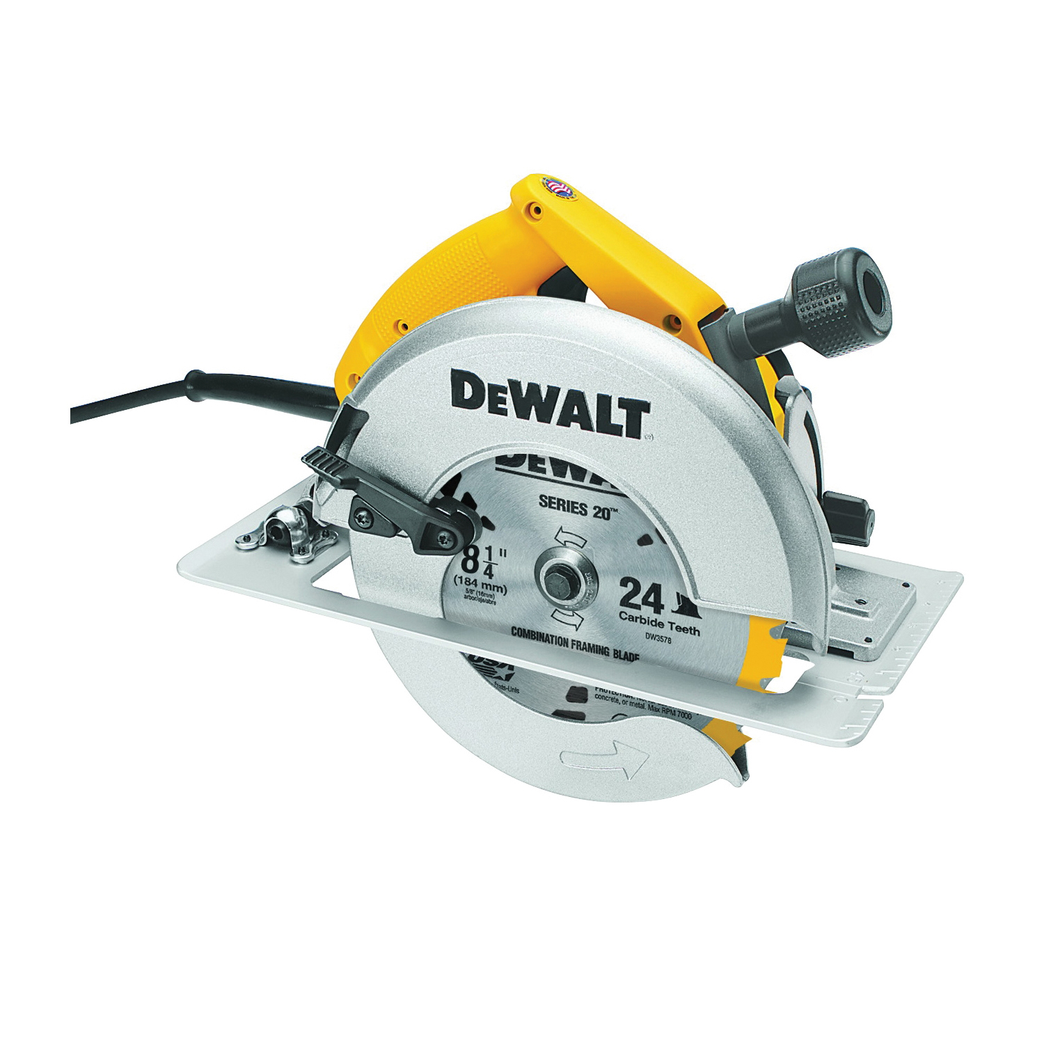 Picture of DeWALT DW384 Circular Saw, 120 V, 15 A, 2075 W, 8-1/4 in Dia Blade, 5/8 in Arbor, 50 deg Bevel