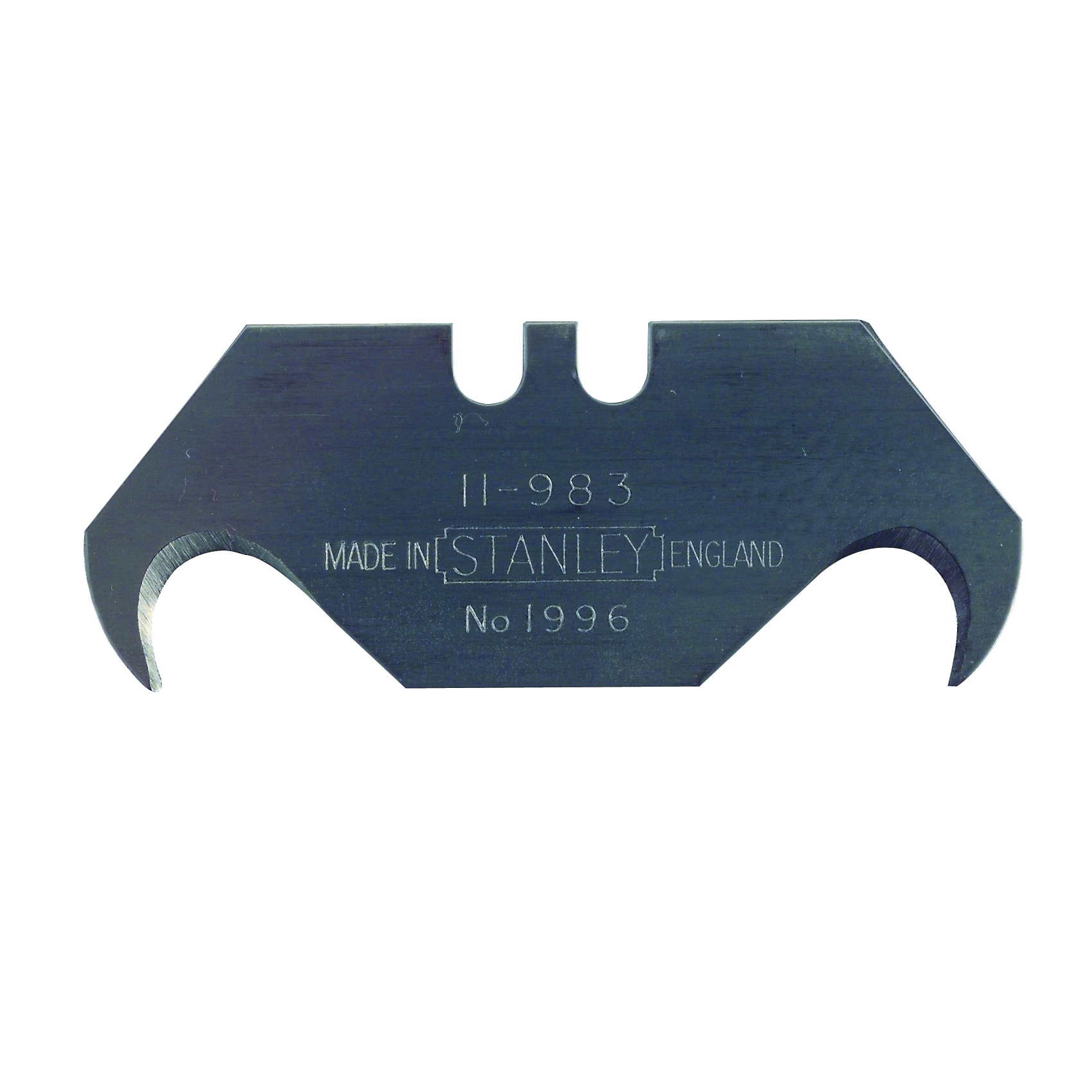 Picture of STANLEY 11-983 Hook Blade, 1-7/8 in L, Carbon Steel, 2 -Point, 5/PK, Carded