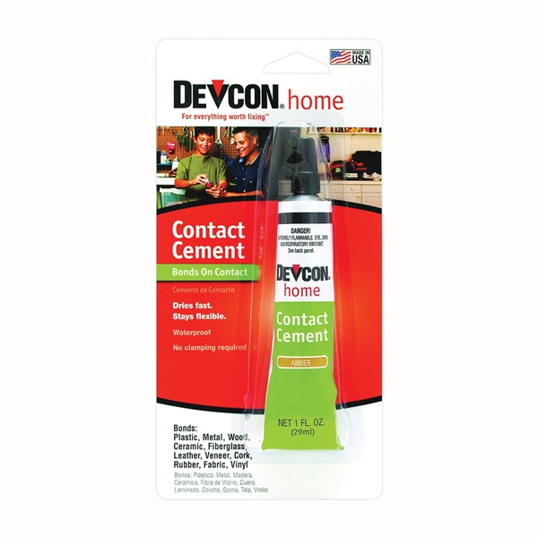 Picture of Devcon 18045 Contact Cement, Liquid, Hydrocarbon, Amber, 1 oz Package, Tube