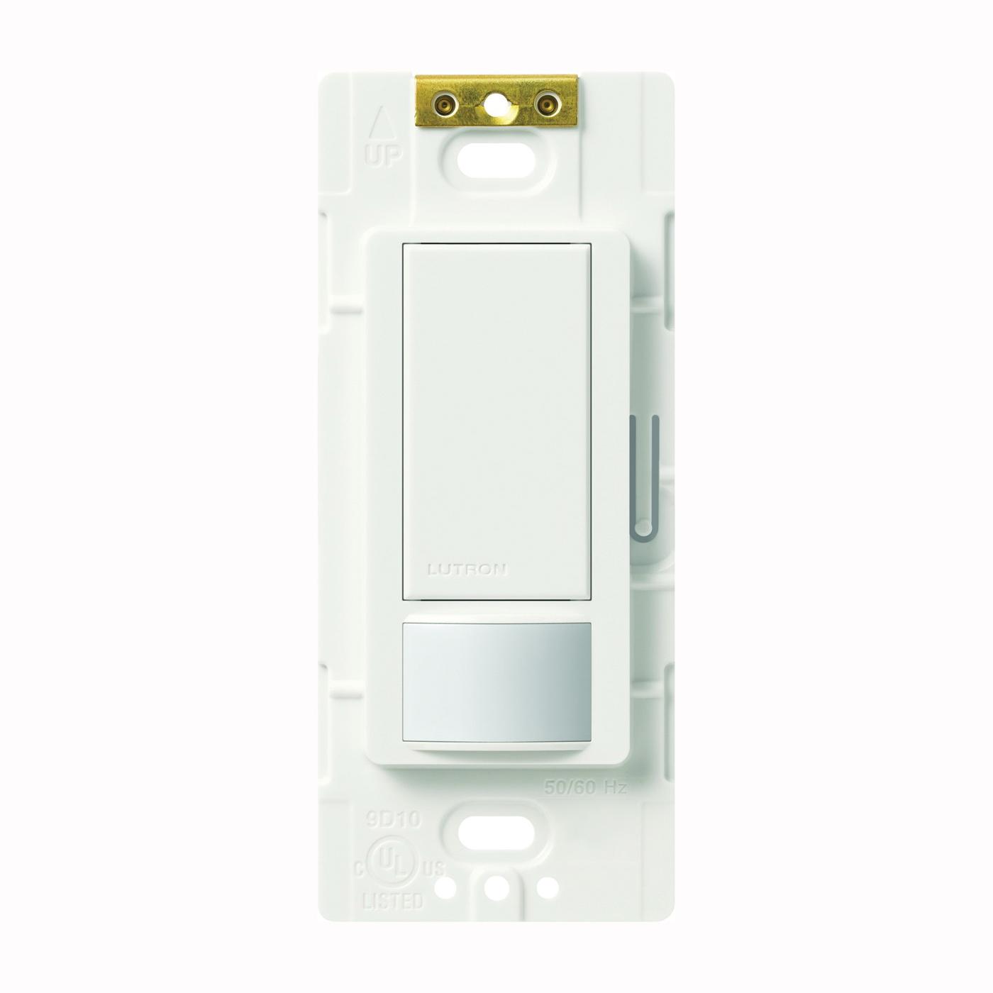 Picture of Lutron Maestro MS-VPS2H-WH Sensor Switch, 2 A, 120 V, 1-Pole, Motion Sensor, 180 deg Sensing, 30 ft Sensing