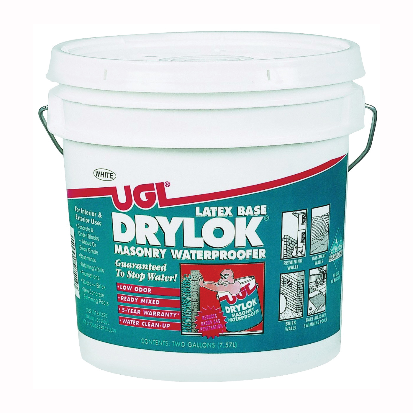 Picture of UGL DRYLOK 27514 Masonry Waterproofer, White, Liquid, 2 gal Package, Pail
