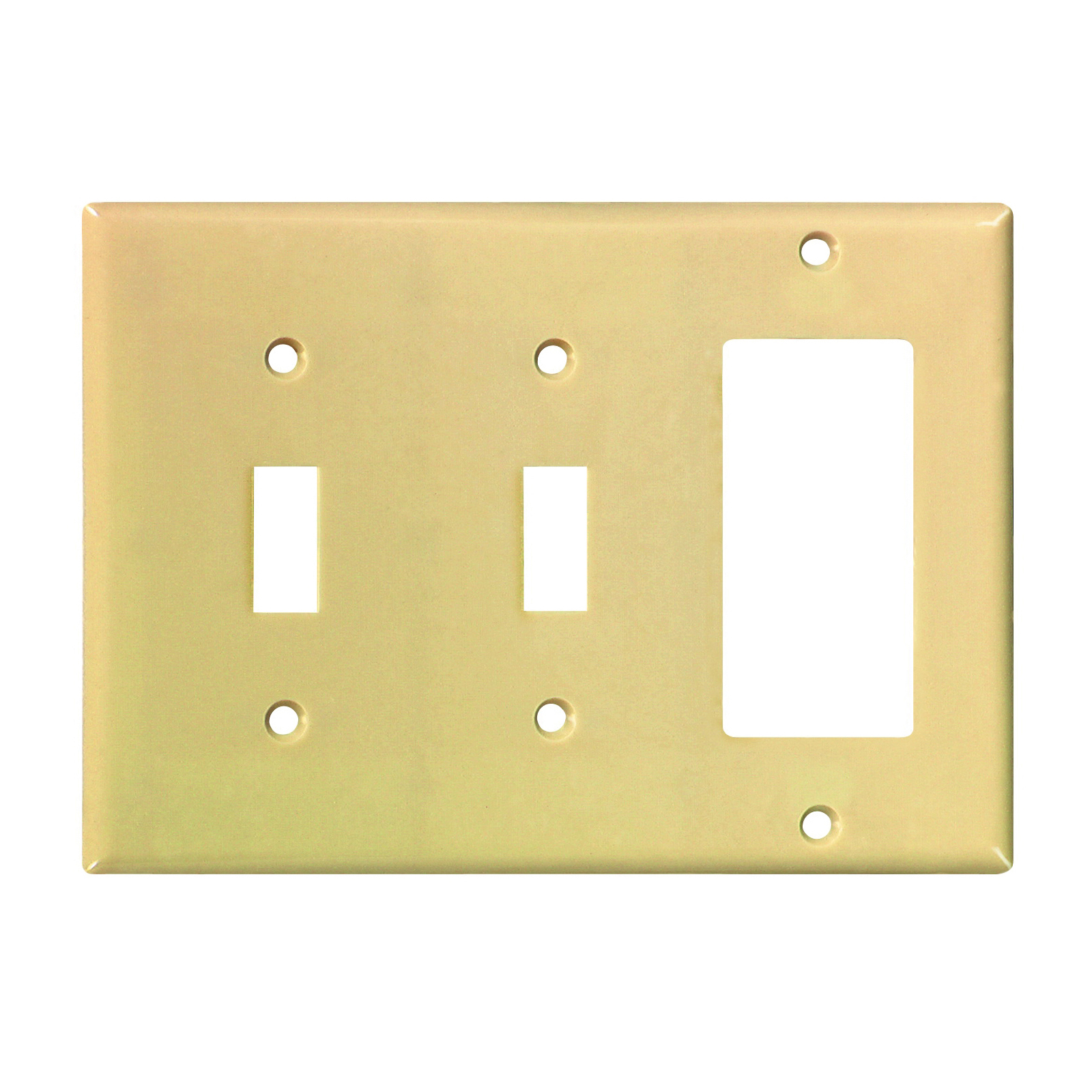 Picture of Eaton Wiring Devices 2173V-BOX Wallplate, 4-1/2 in L, 6-3/8 in W, 3-Gang, Thermoset, Ivory, High-Gloss