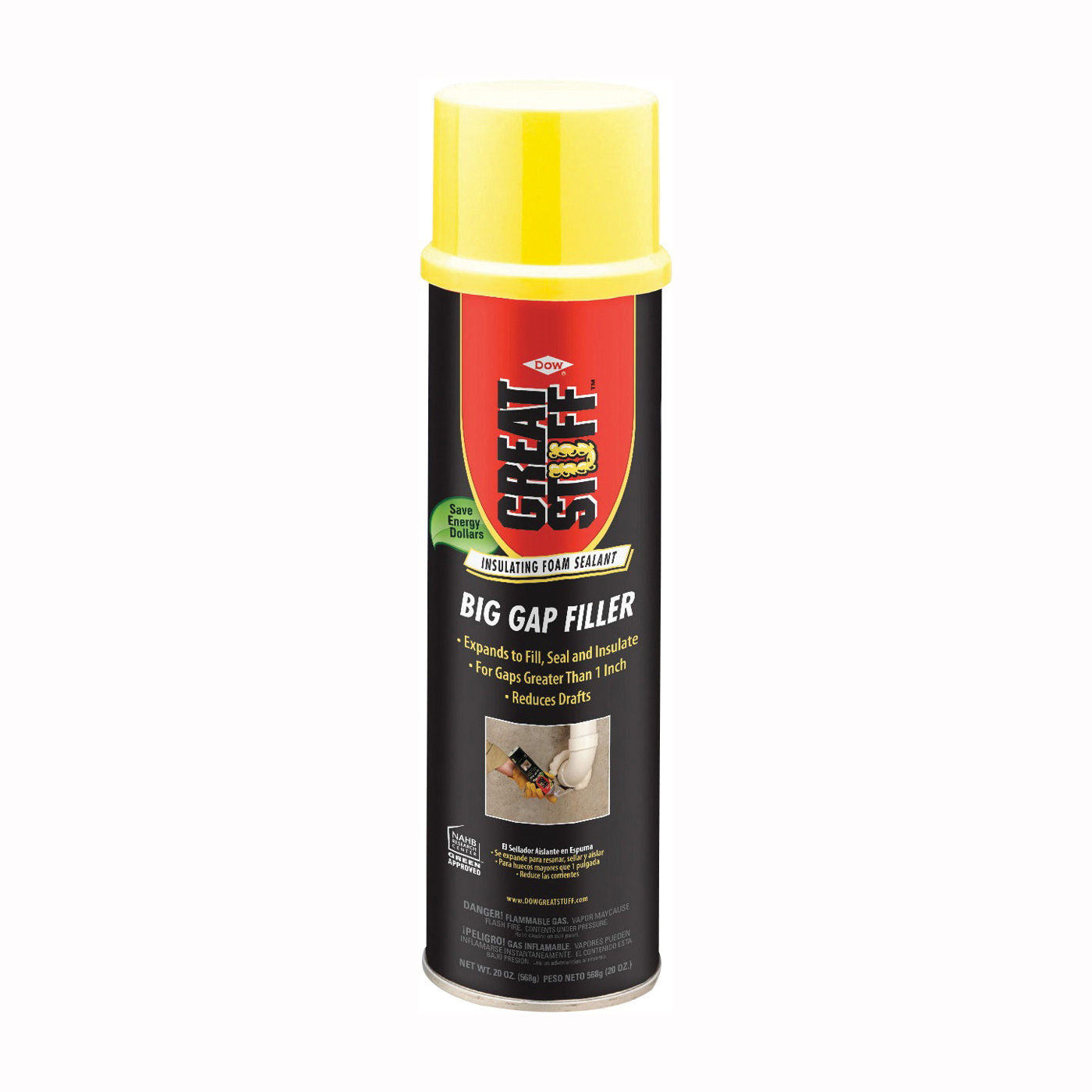 Picture of Dow 157913 Foam Sealant, Yellow, 20 oz Package, Can