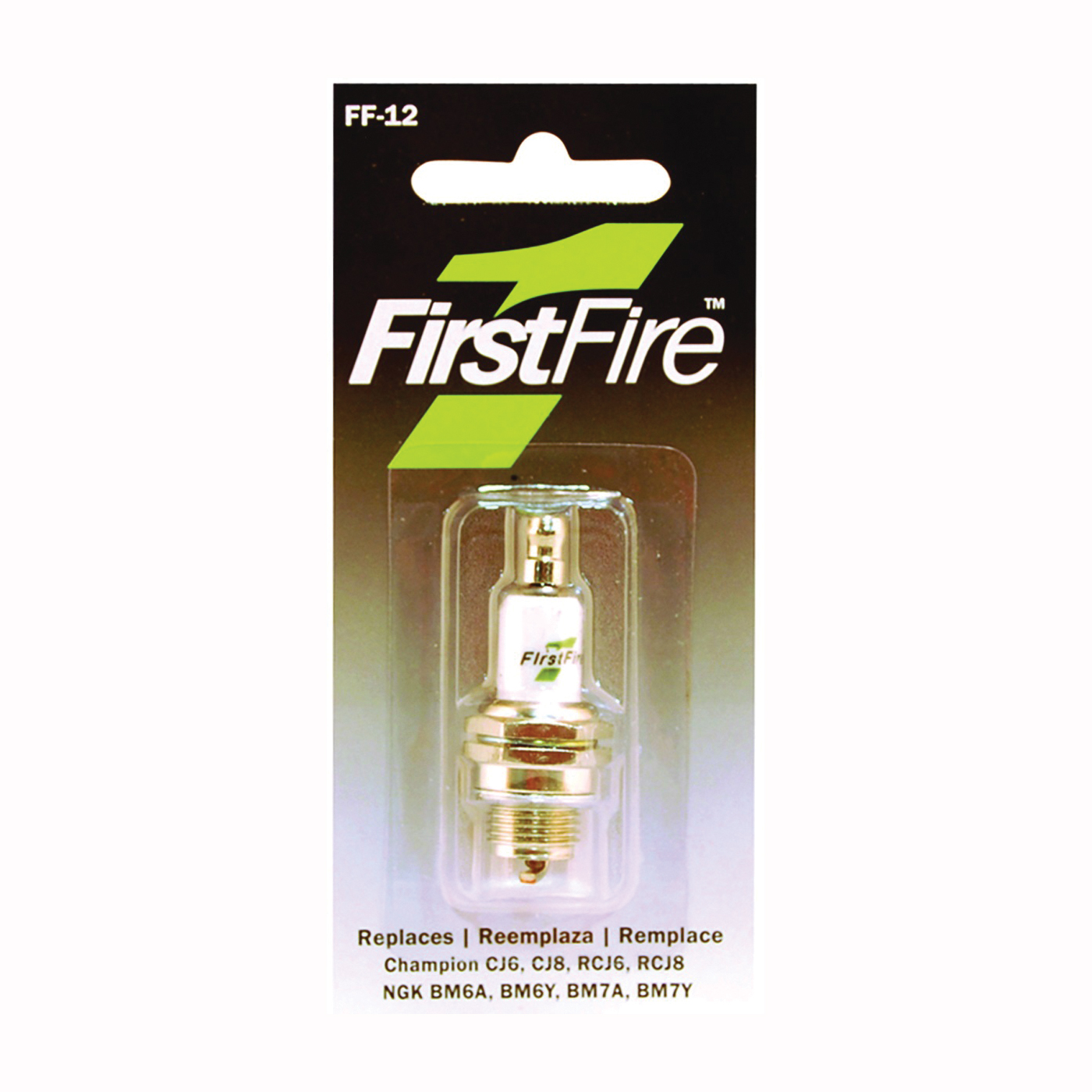 Picture of MTD FF-12 Spark Plug, 3/8 in Fill Gap, 0.551 in Thread, 13/16 in Hex