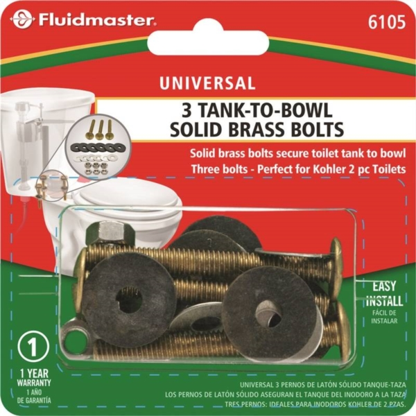 Picture of FLUIDMASTER 6105 Tank-to-Bowl Bolt, Brass, For: Rocking Toilets