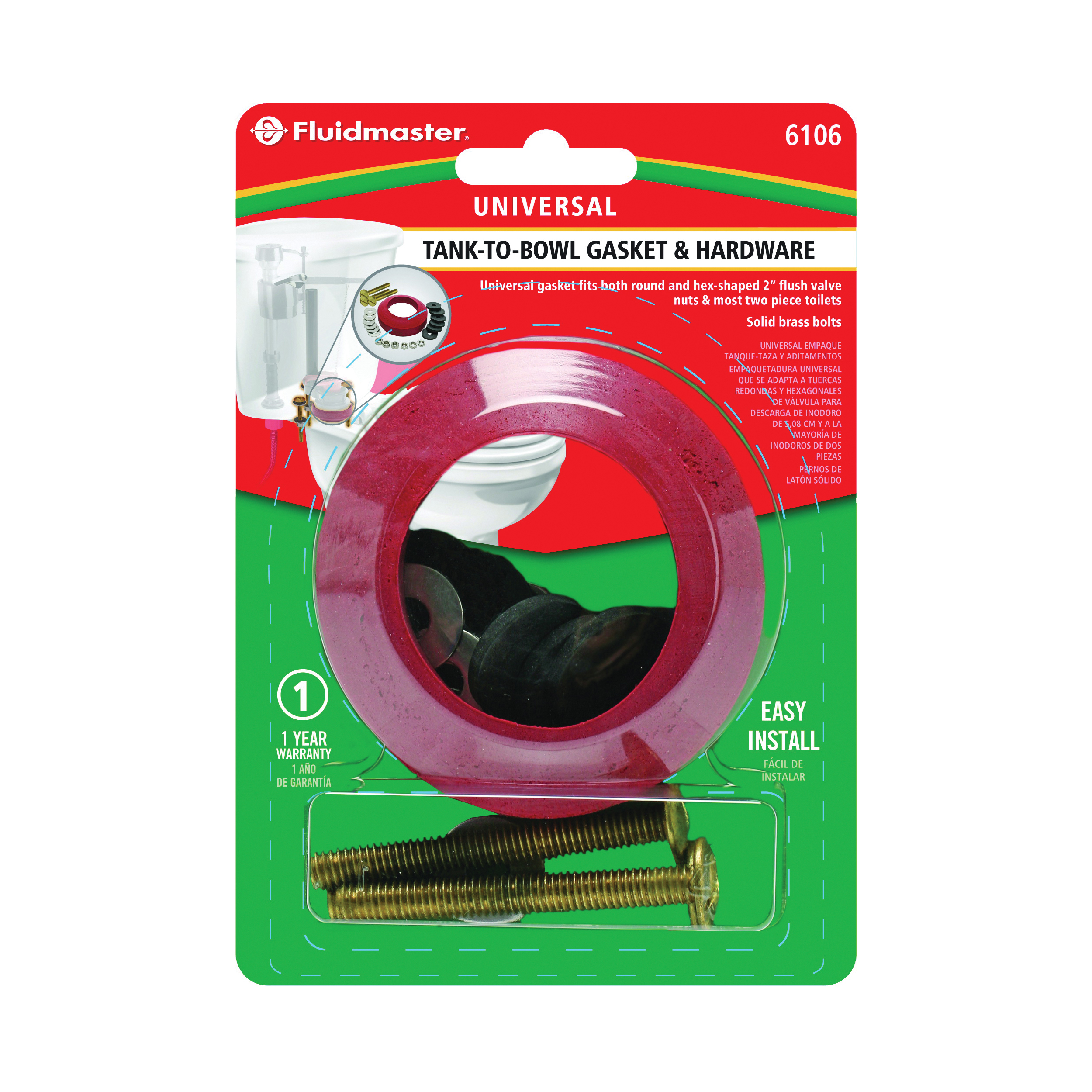 Picture of FLUIDMASTER 6106 Toilet Tank-to-Bowl Gasket, Solid Brass/Sponge Rubber