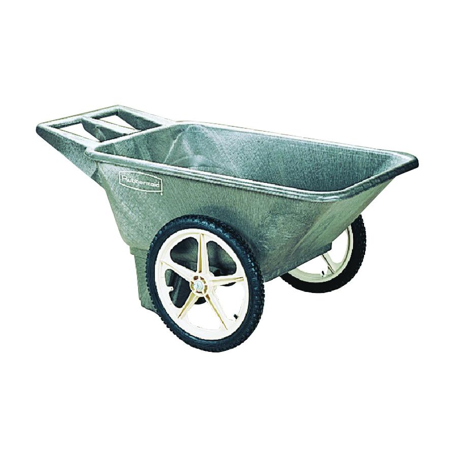 Picture of Rubbermaid 564200BLA Utility Cart, 300 lb, Plastic Deck, 2 -Wheel, 20 in Wheel, Pneumatic Wheel, Black