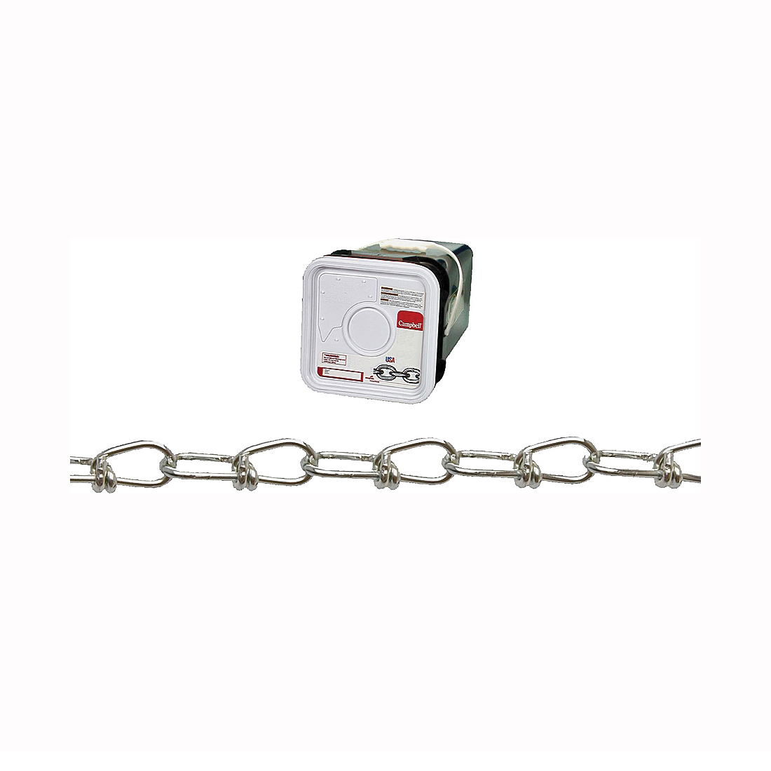 Picture of Campbell 0752426 Loop Chain, #2/0 Trade, 275 ft L, 255 lb Working Load, Low Carbon Steel, Zinc, Square Pail