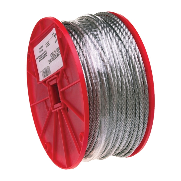 Picture of Campbell 7000427 Aircraft Cable, 1/8 in Dia, 500 ft L, 340 lb Working Load, Galvanized Steel