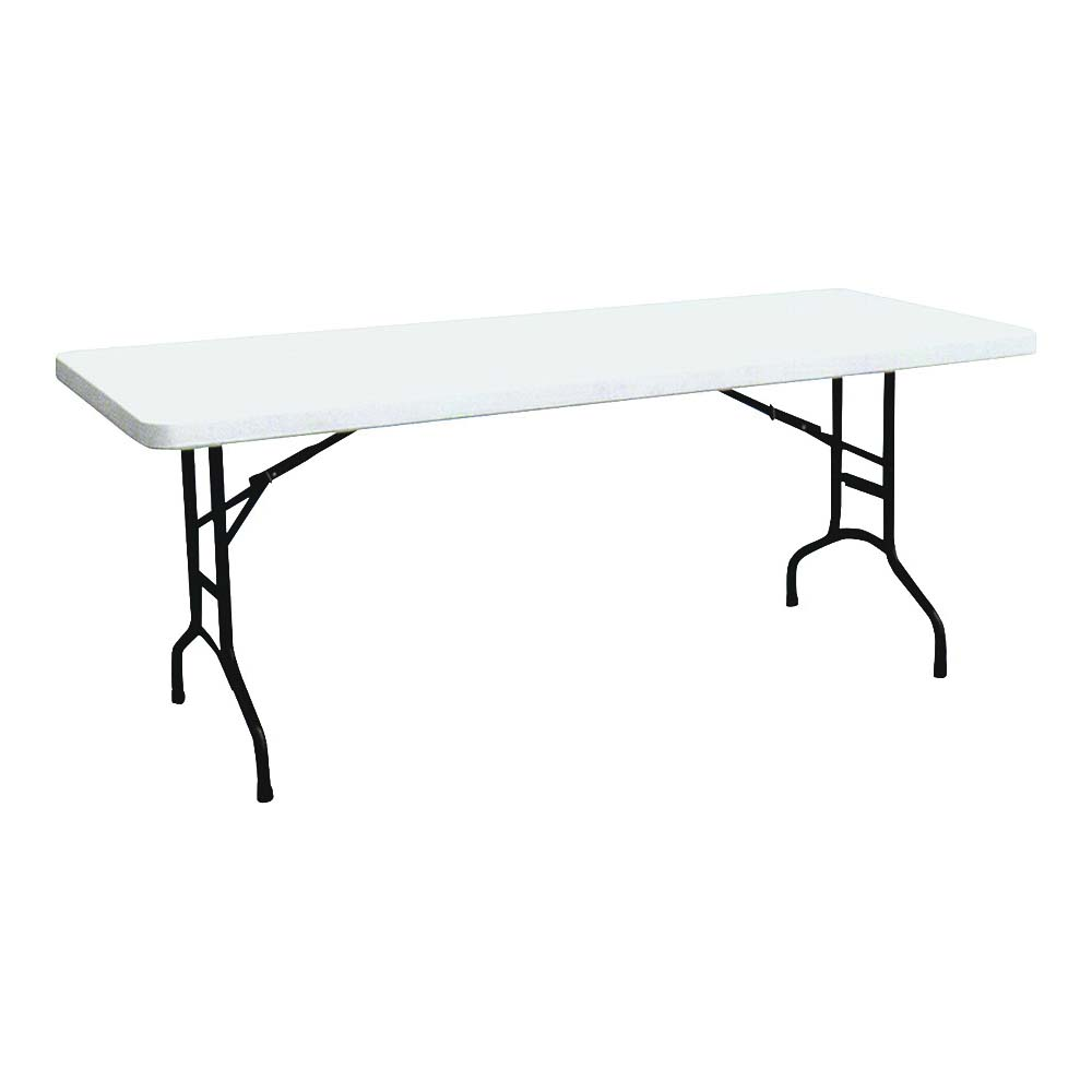 Picture of Simple Spaces TBL-040 Banquet Table, 6 ft OAW, Steel Frame, Polyethylene Tabletop, White