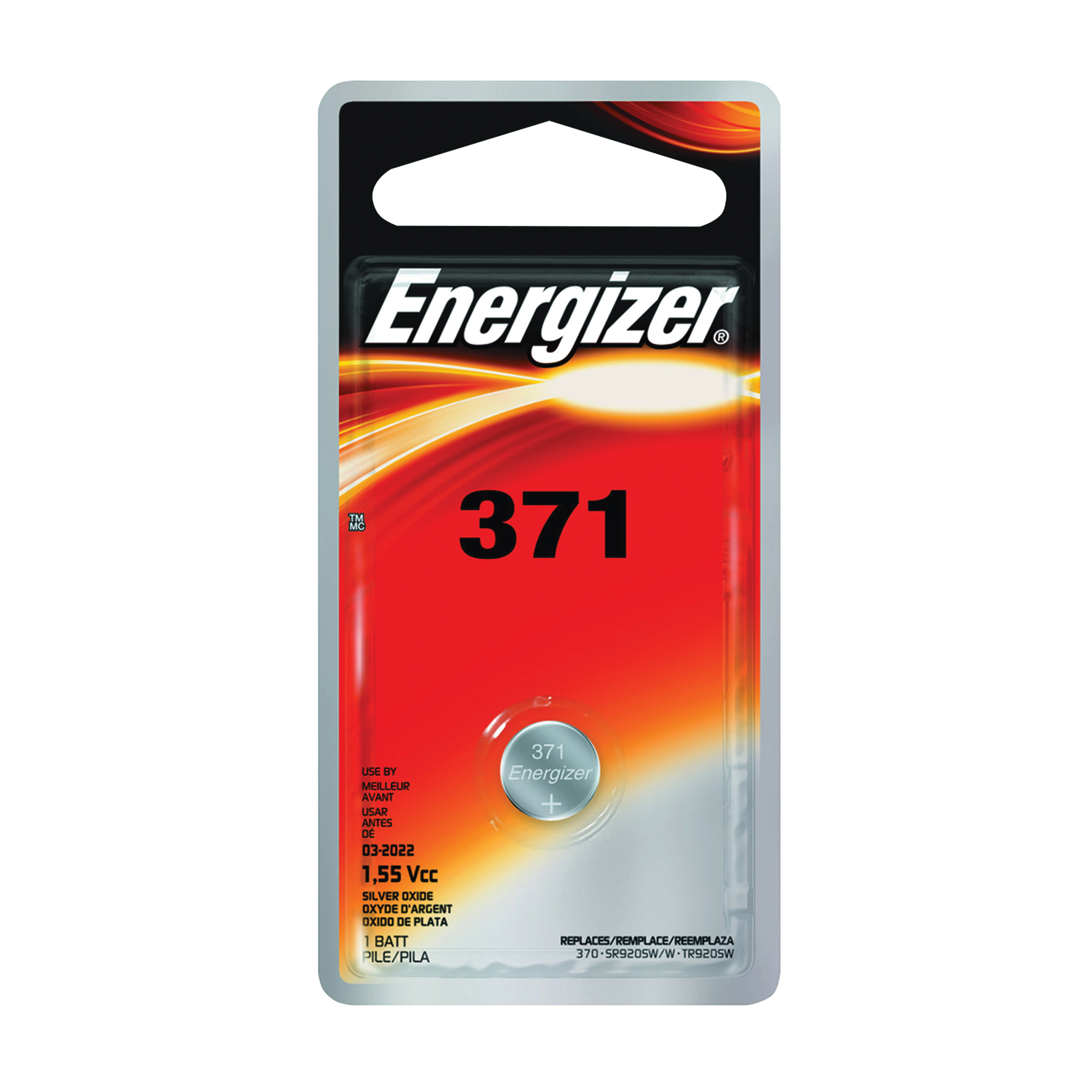 Picture of Energizer 371BPZ Coin Cell Battery, 1.5 V Battery, 34 mAh, 371 Battery, Silver Oxide