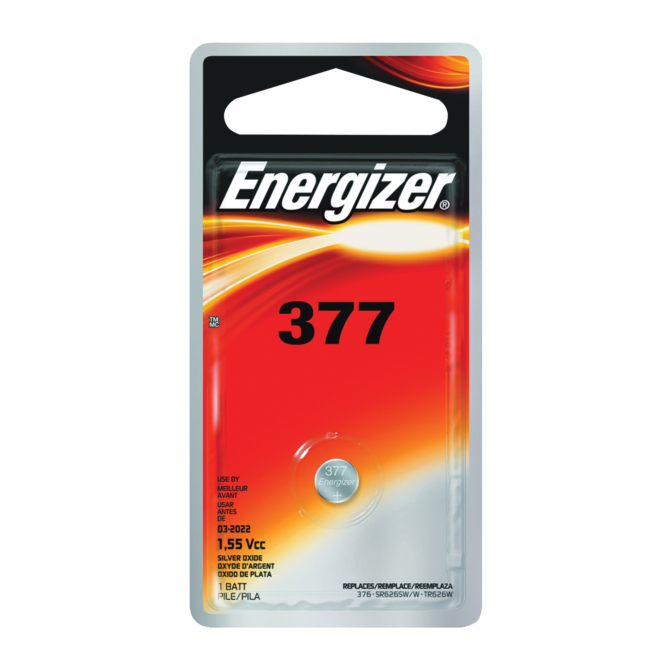 Picture of Energizer 377BPZ Coin Cell Battery, 1.5 V Battery, 24 mAh, 377 Battery, Silver Oxide