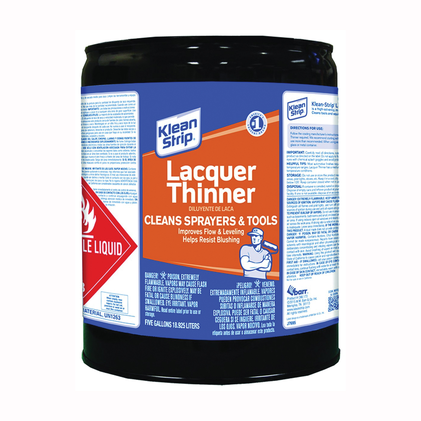 Picture of Klean Strip CML170 Lacquer Thinner, Liquid, Free, Clear, Water White, 5 gal, Can
