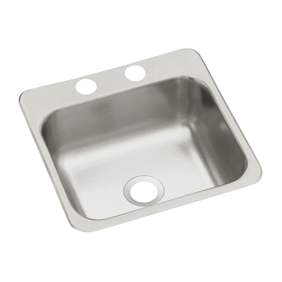 Picture of Sterling Traditional B155-2 Bar Sink, Square Bowl, 2-Hole, 15 in W x 5-1/2 in D x 15 in H Dimensions, Satin