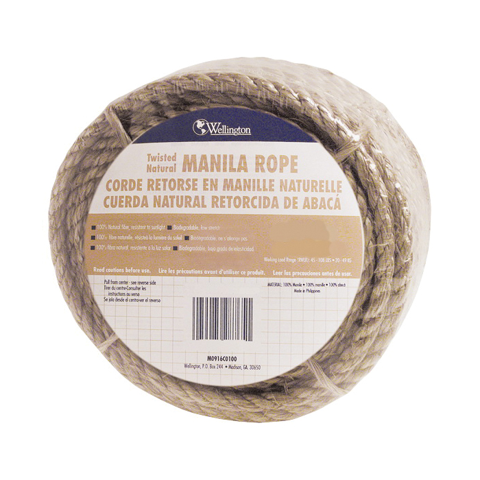 Picture of T.W. Evans Cordage 26-001 Rope, 1/4 in Dia, 50 ft L, 54 lb Working Load, Manila, Natural, Spool