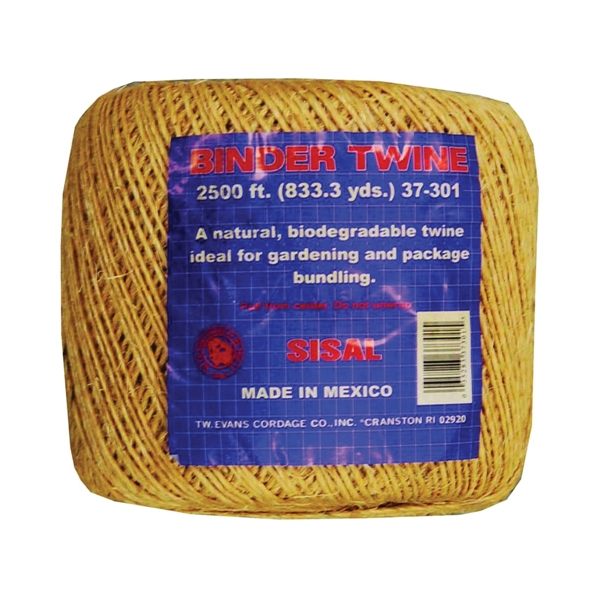 Picture of T.W. Evans Cordage 37-301 Binder Twine, #5 Dia, 2500 ft L, Sisal, Natural Tan, Tube