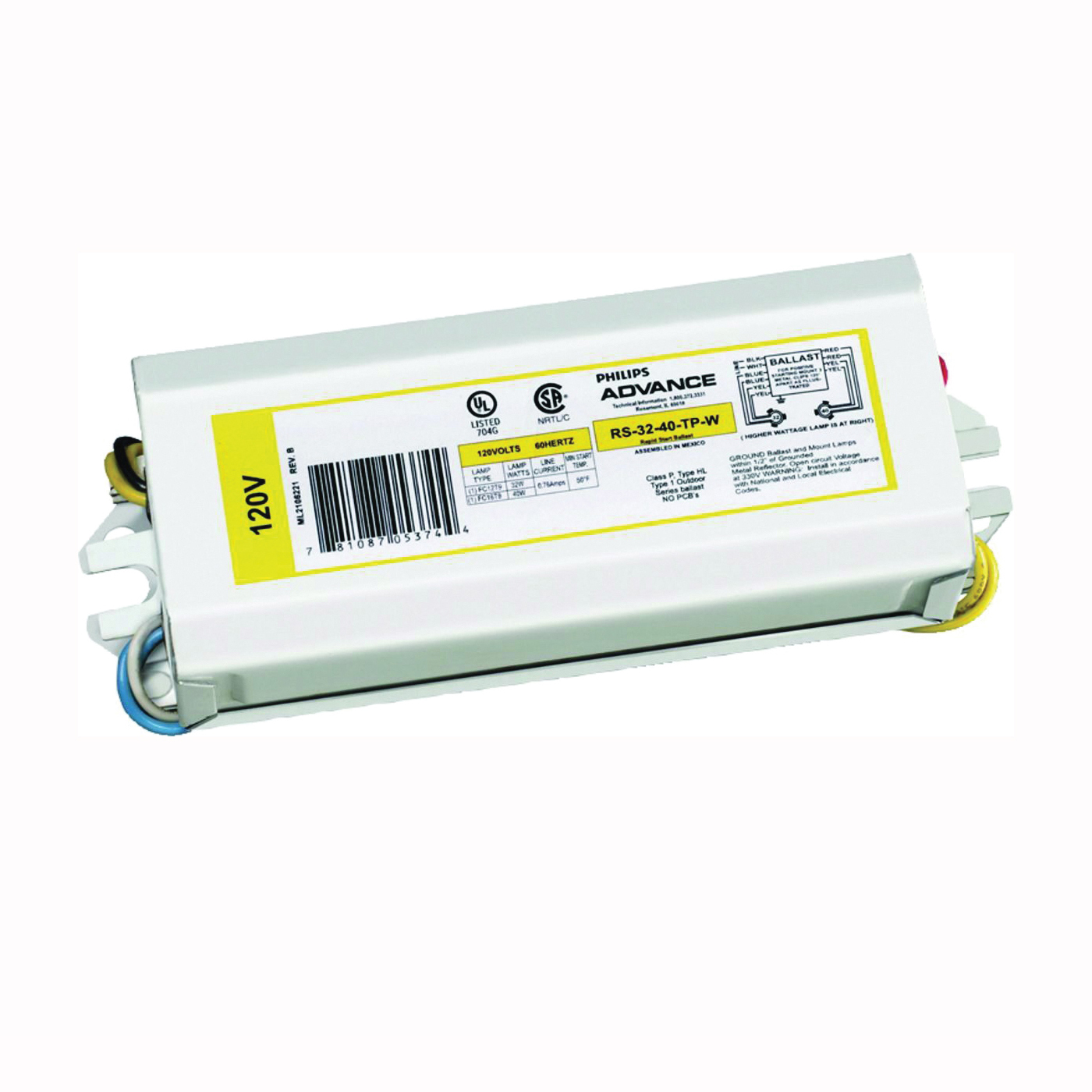 Picture of Philips Advance Magnetic NPF RLCS140TPWI Magnetic Ballast, 120 V, 28 W, 2-Lamp
