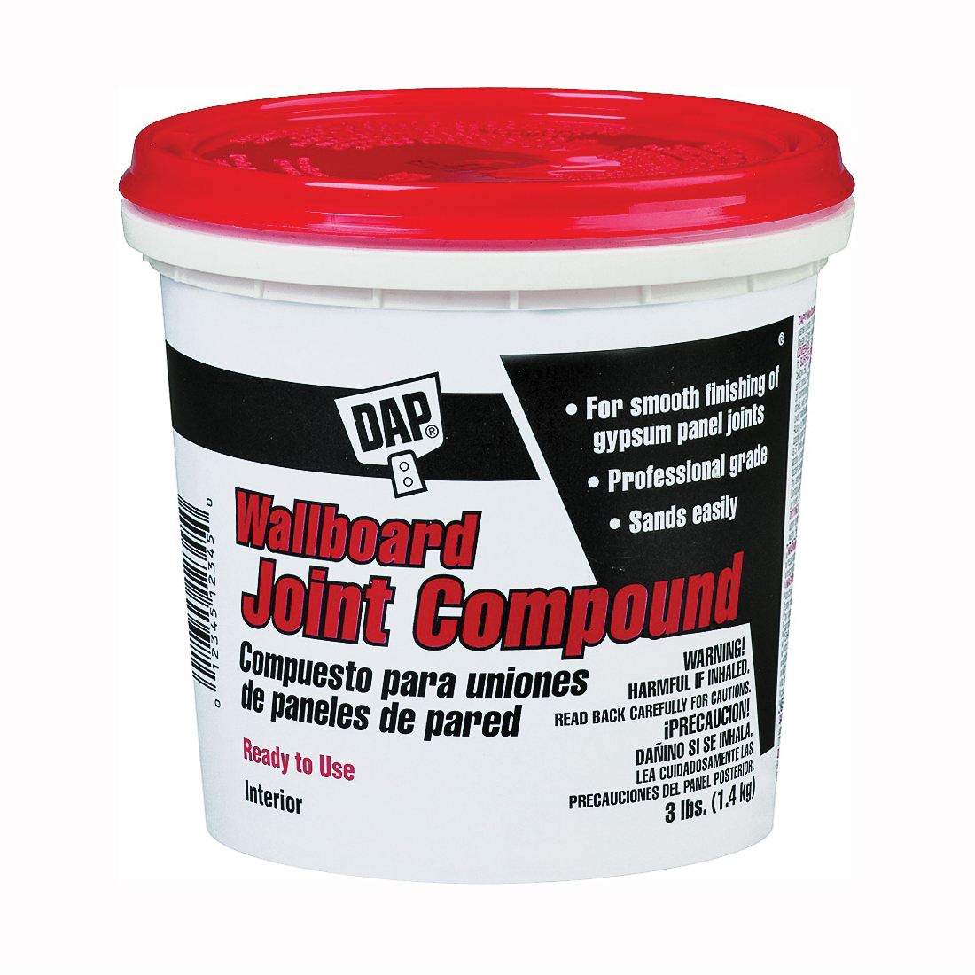 Picture of DAP 10100 Joint Compound, Paste, Off-White, 3 lb Package, Tub