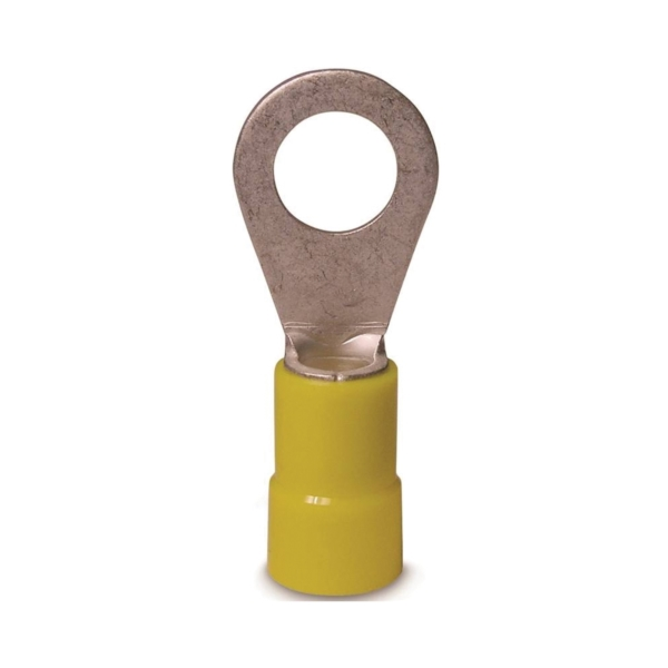 Picture of GB 10-106 Ring Terminal, 600 V, 12 to 10 AWG Wire, #8 to 10 Stud, Vinyl Insulation, Copper Contact, Yellow