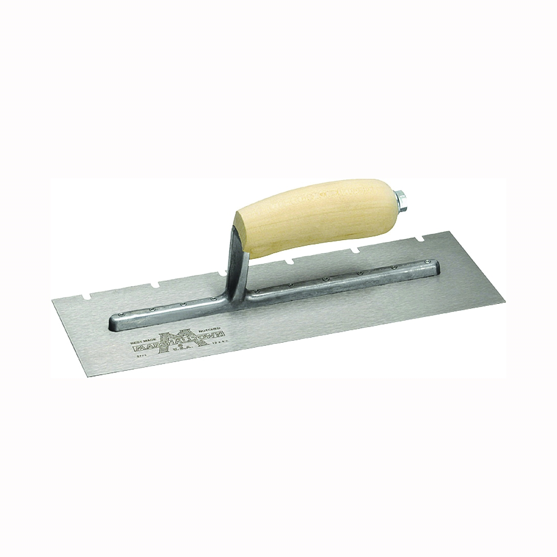 Picture of Marshalltown 701S Trowel, 11 in L, 4-1/2 in W, V Notch, Curved Handle