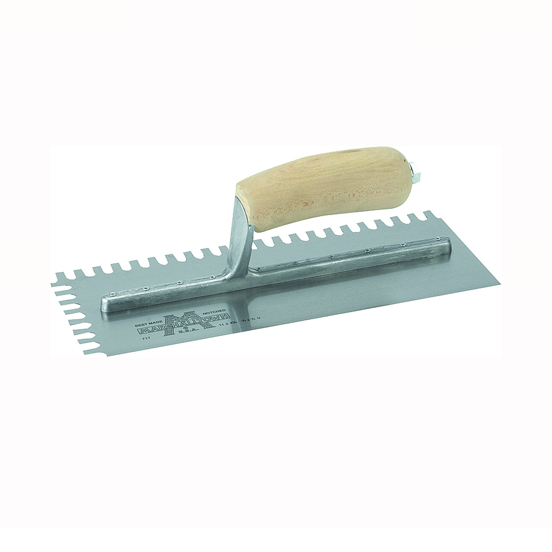 Picture of Marshalltown 704S Trowel, 11 in L, 4-1/2 in W, U Notch, Curved Handle