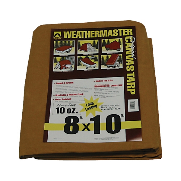 Picture of DIZE Weathermaster CA0810D Tarpaulin, 10 ft L, 8 ft W, Canvas, Tan