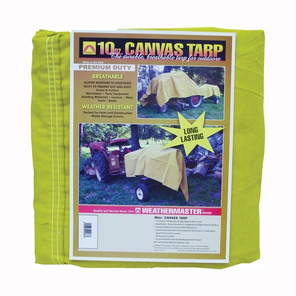 Picture of DIZE Weathermaster CA1012D Tarpaulin, 12 ft L, 10 ft W, Canvas, Tan