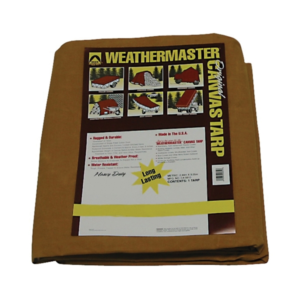 Picture of DIZE Weathermaster CA1216D Tarpaulin, 16 ft L, 12 ft W, Canvas, Tan