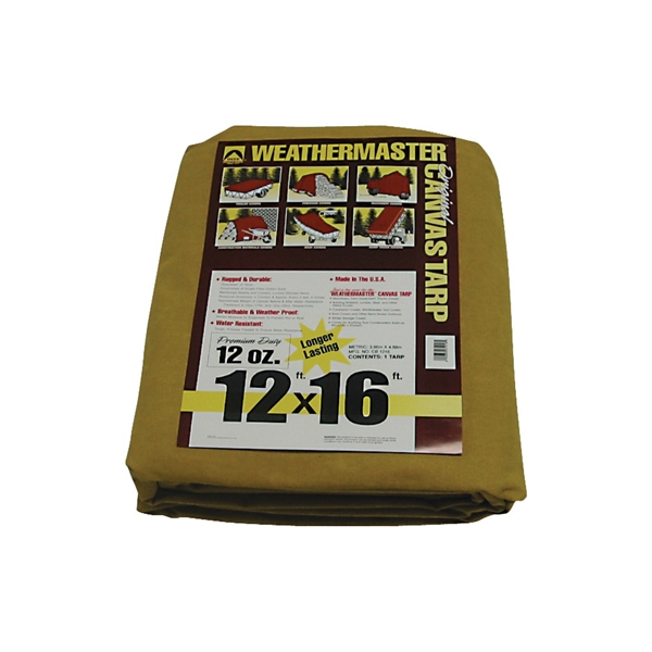 Picture of DIZE Weathermaster CB1216D Tarpaulin, 16 ft L, 12 ft W, Canvas, Tan