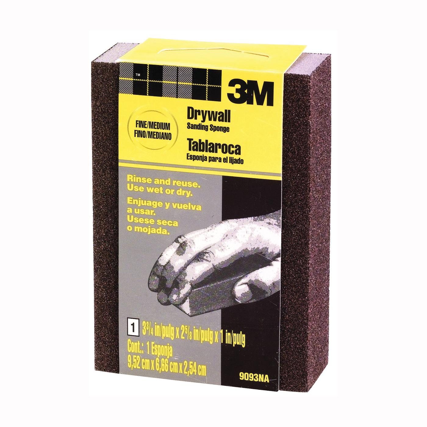 Picture of 3M 9093 Sanding Sponge, 3-3/4 in L, 2-5/8 in W, Fine/Medium