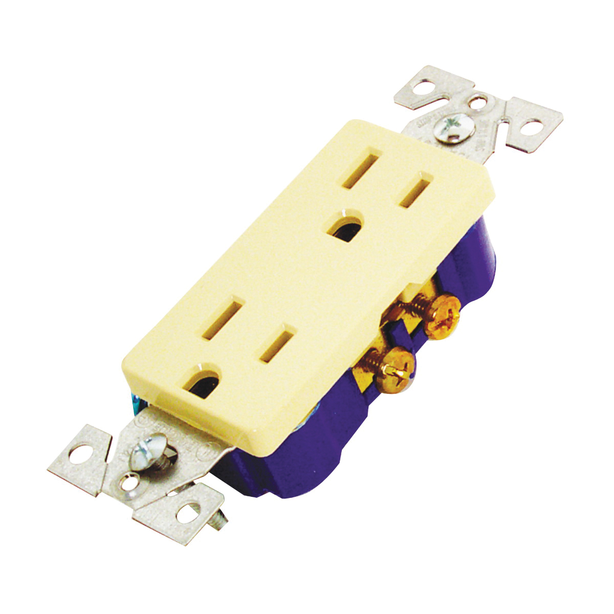 Picture of Eaton Wiring Devices 1107V-BOX Duplex Receptacle, 2-Pole, 15 A, 125 V, Back, Side Wiring, NEMA: 5-15R, Ivory