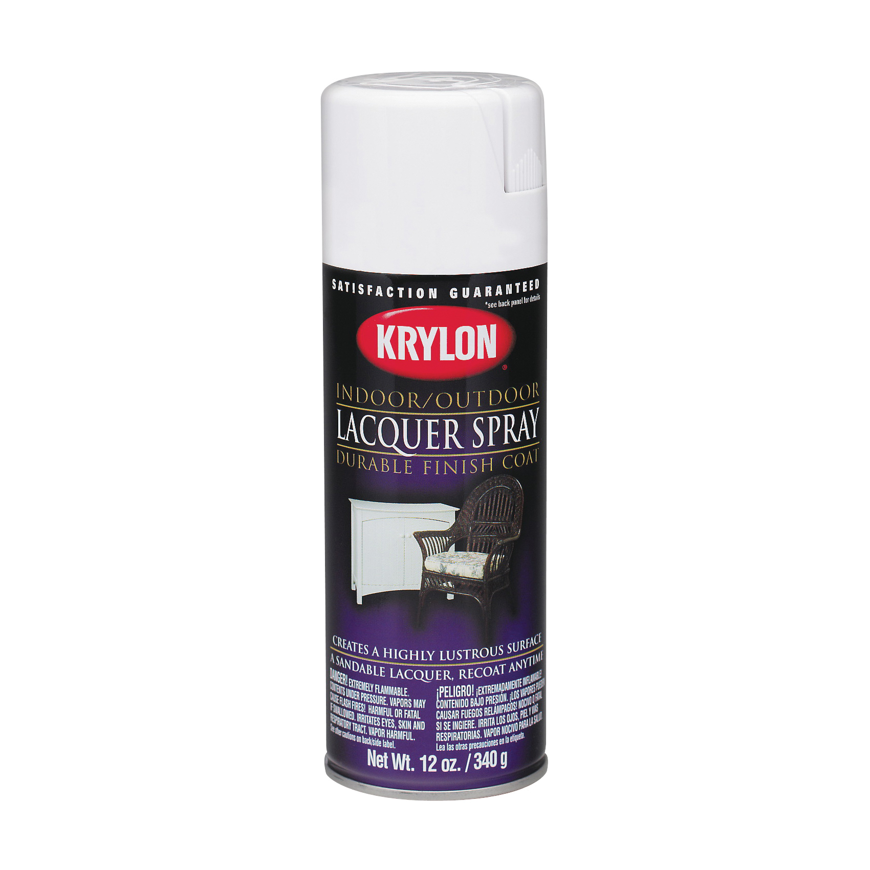 Picture of Krylon K07031007 Lacquer Spray Paint, Gloss, Liquid, White, 12 oz, Aerosol Can