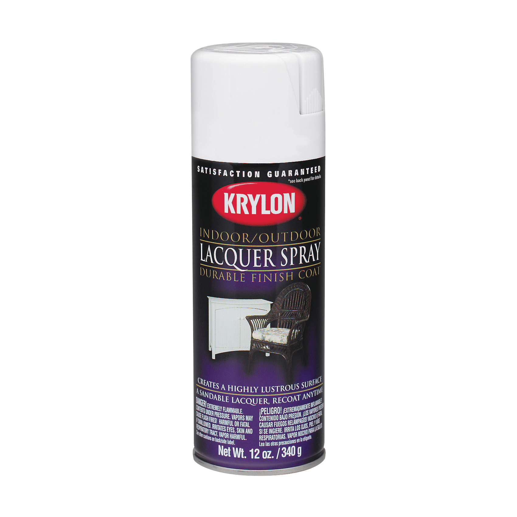 Picture of Krylon K07032007 Lacquer Spray Paint, Gloss, Liquid, Clear, 12 oz, Aerosol Can