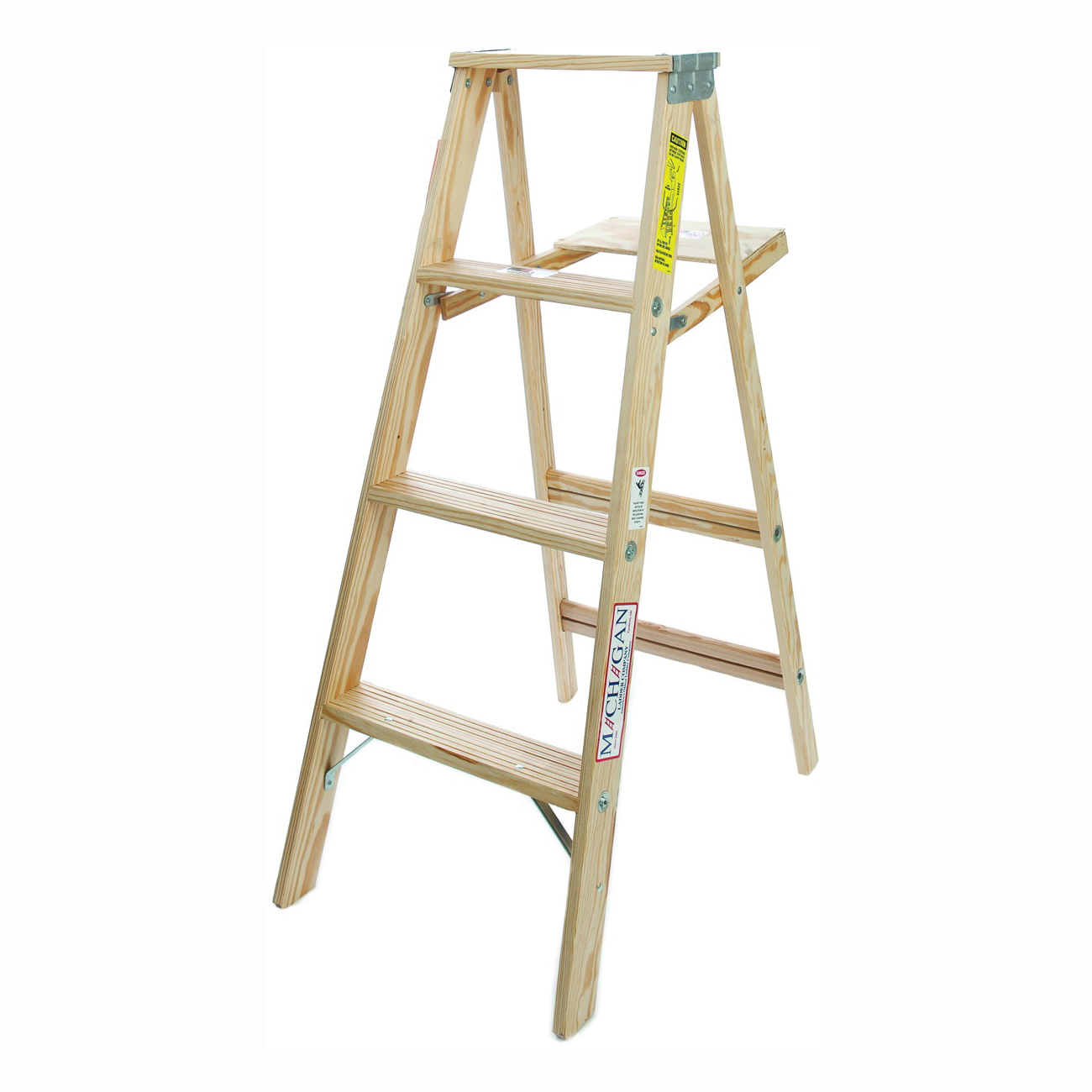 Picture of MICHIGAN LADDER 1100-04 Step Ladder, 1.9 ft Max Reach H, 200 lb, Type III Duty Rating, Wood, Pine