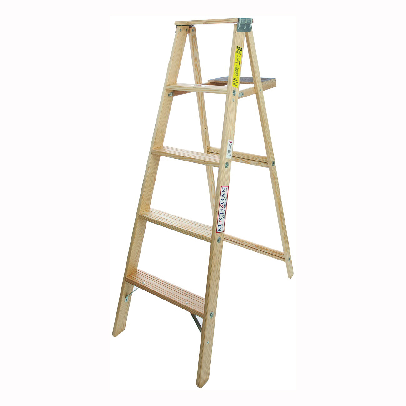 Picture of MICHIGAN LADDER 1100-05 Step Ladder, 200 lb, Type III Duty Rating, Wood, Pine