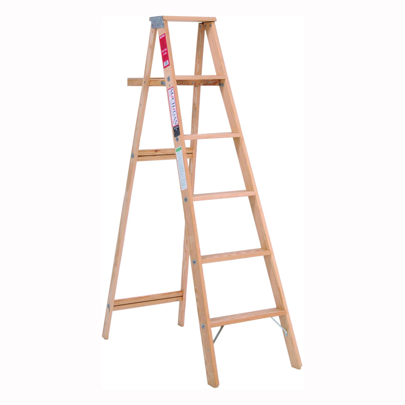 Picture of MICHIGAN LADDER 1100-06 Step Ladder, 200 lb, Type III Duty Rating, Wood, Pine