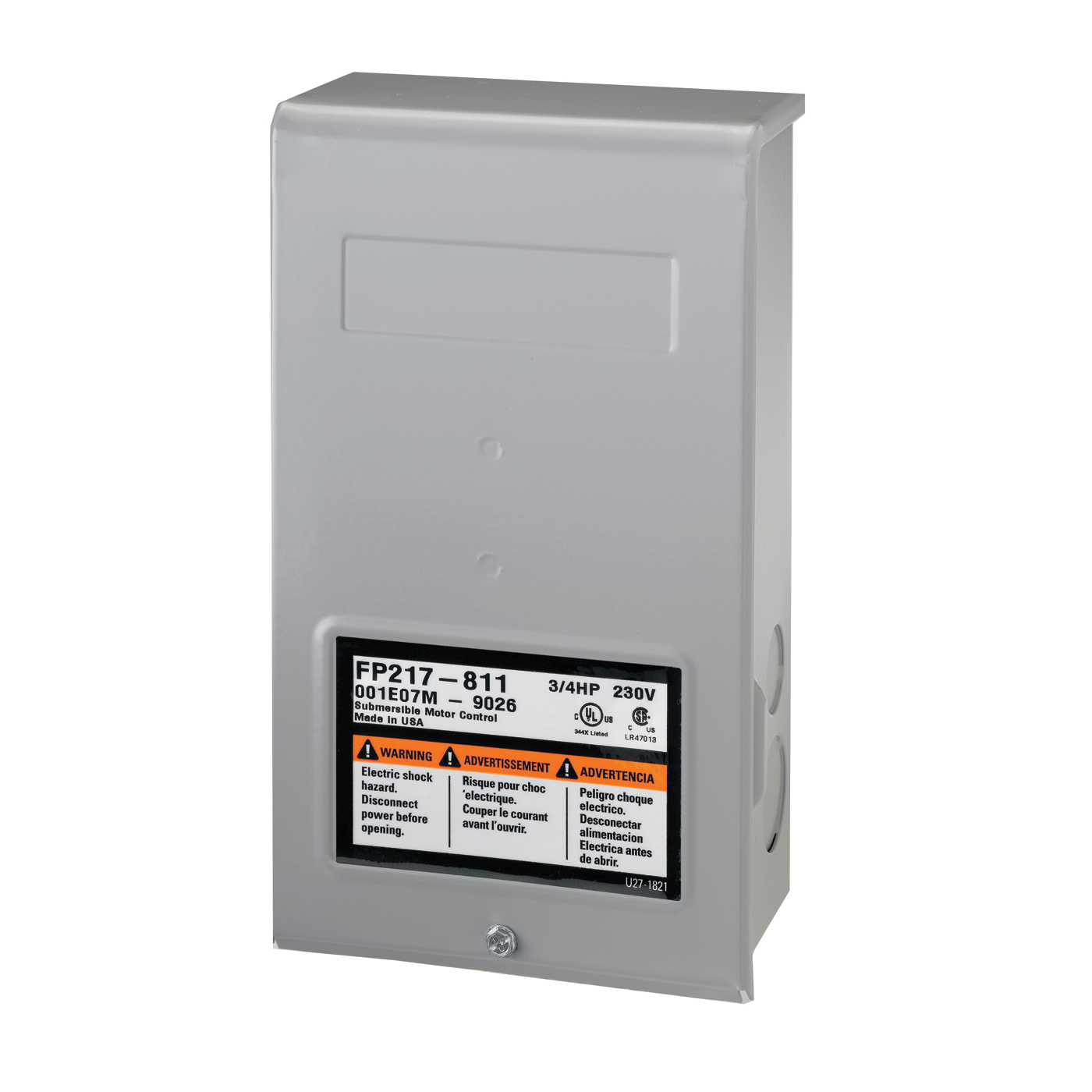Picture of Flotec FP217-810 Control Box, 230 V, 0.5 hp, 3-Wire, Multiple Size Electrical Knockout, NEMA 3R Enclosure