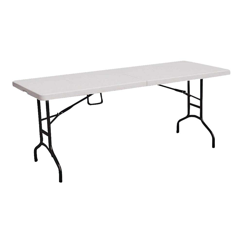 Picture of Simple Spaces TBL-072 Folding Table, 6 ft OAW, 6 ft OAH, Steel Frame, Polypropylene Tabletop, White