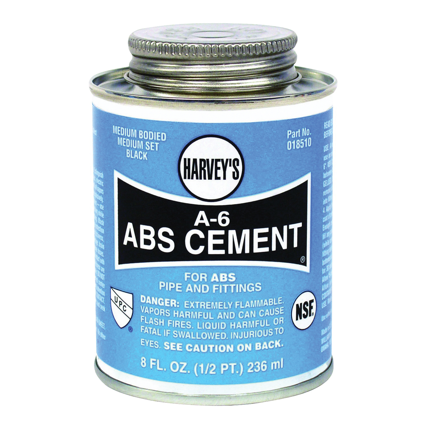 Picture of HARVEY A-6 Series 018510-24 Solvent Cement, Opaque Liquid, Black, 8 oz Package, Can
